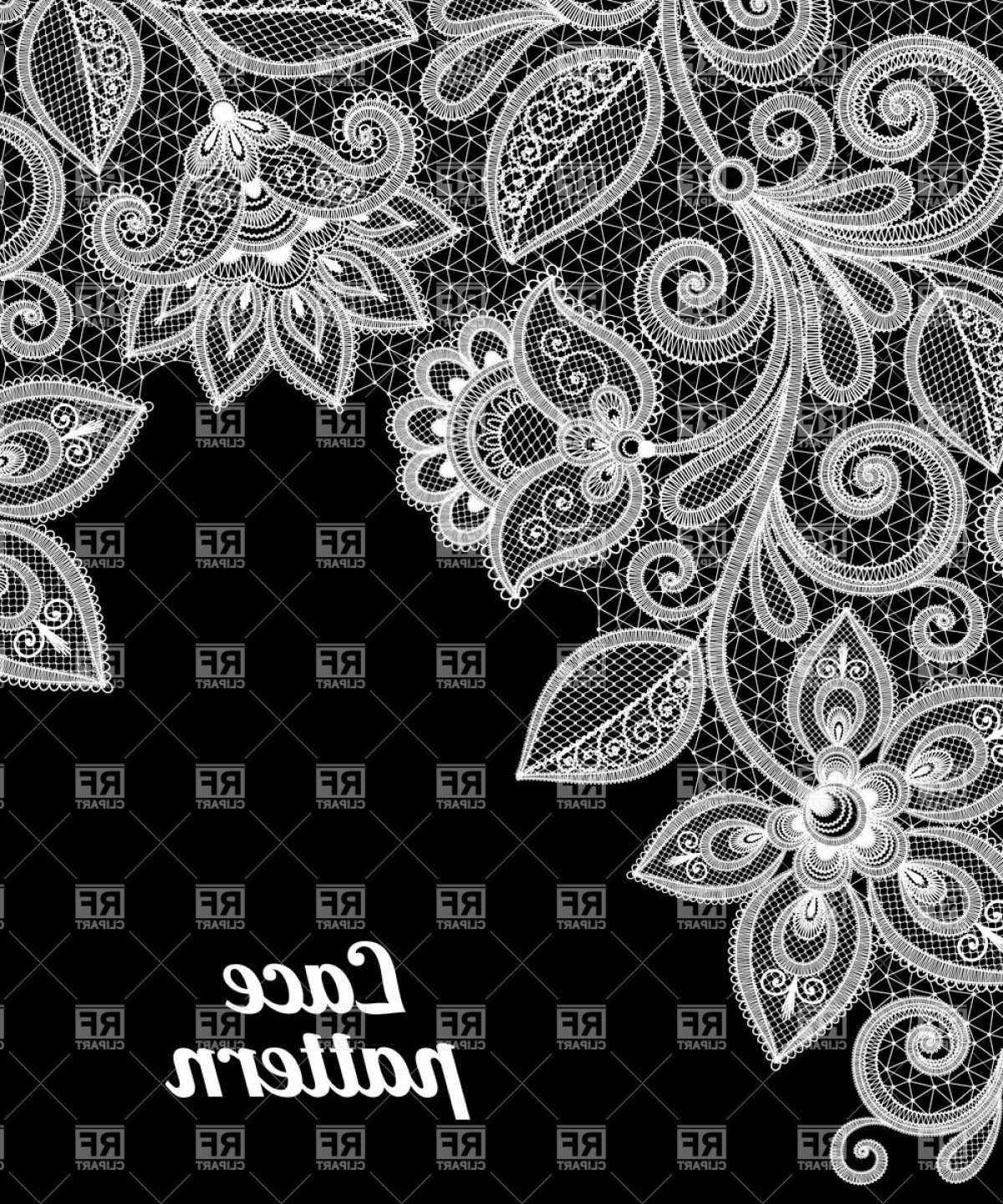 White Lace Vector: White Lace Floral Border On Black Background Vector Clipart
