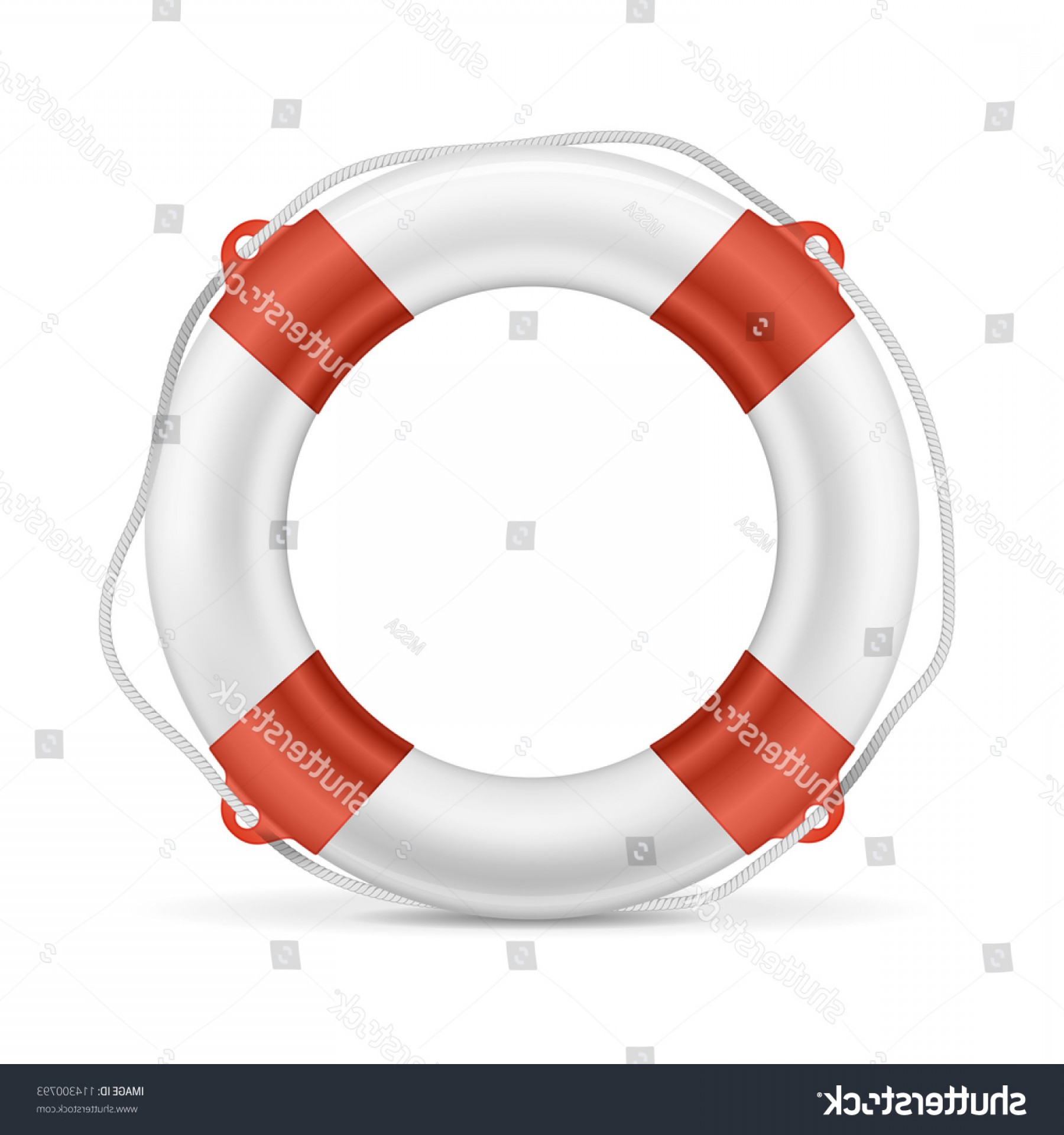 Old Lifesaver Stripe Vectors: White Lifebuoy Red Stripes Rope Isolated