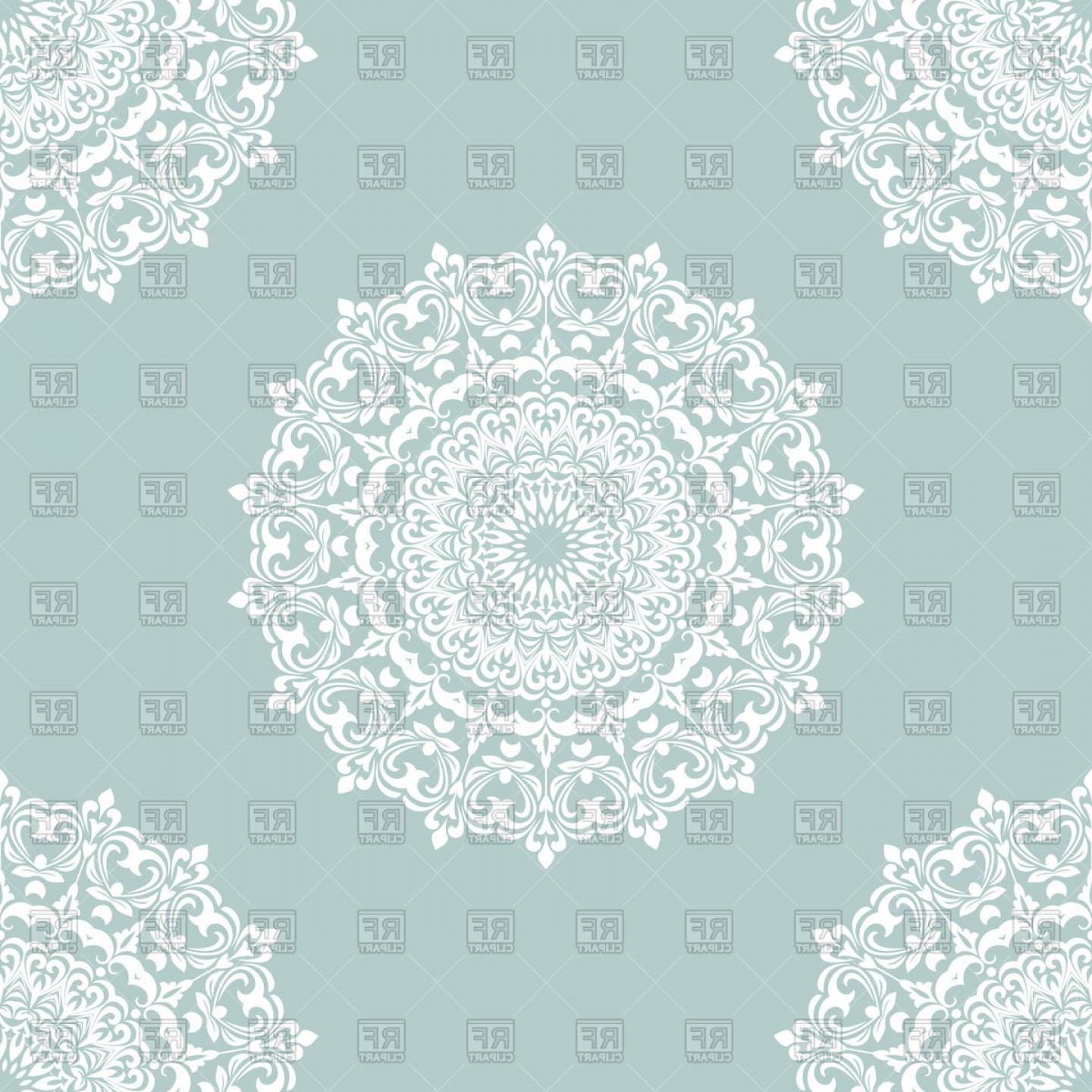 White Lace Vector: White Mandala Seamless Pattern On Blue Background Round Lace Vector Clipart