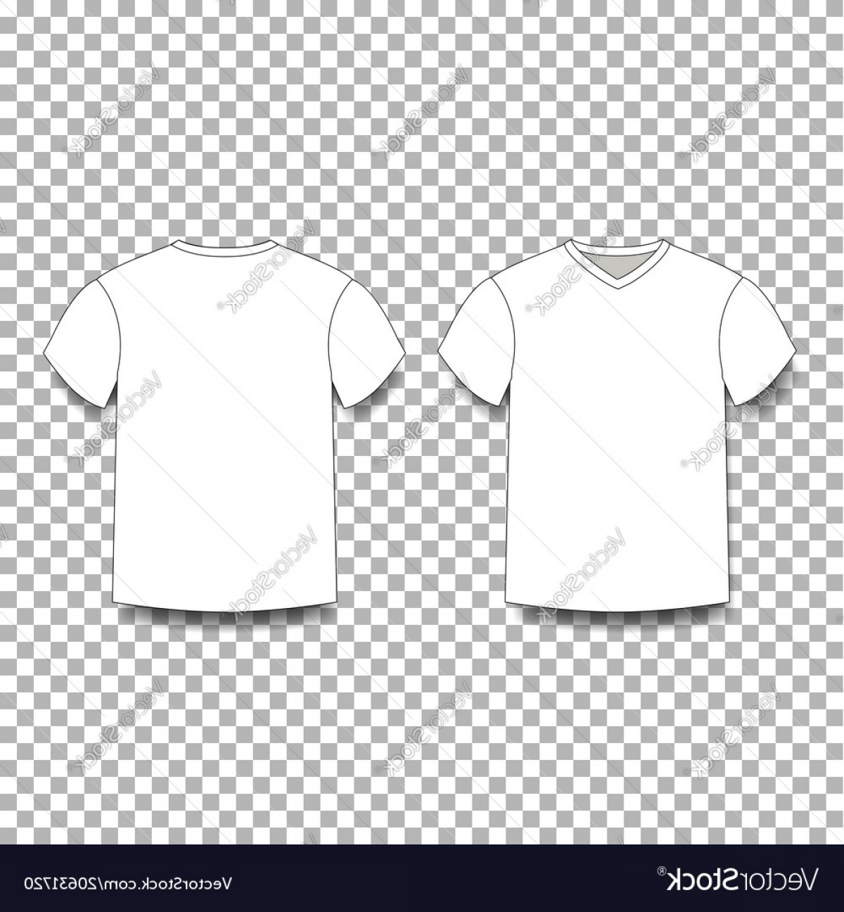 V-Neck Template Vector: White Men S T Shirt Template V Neck Front And Vector
