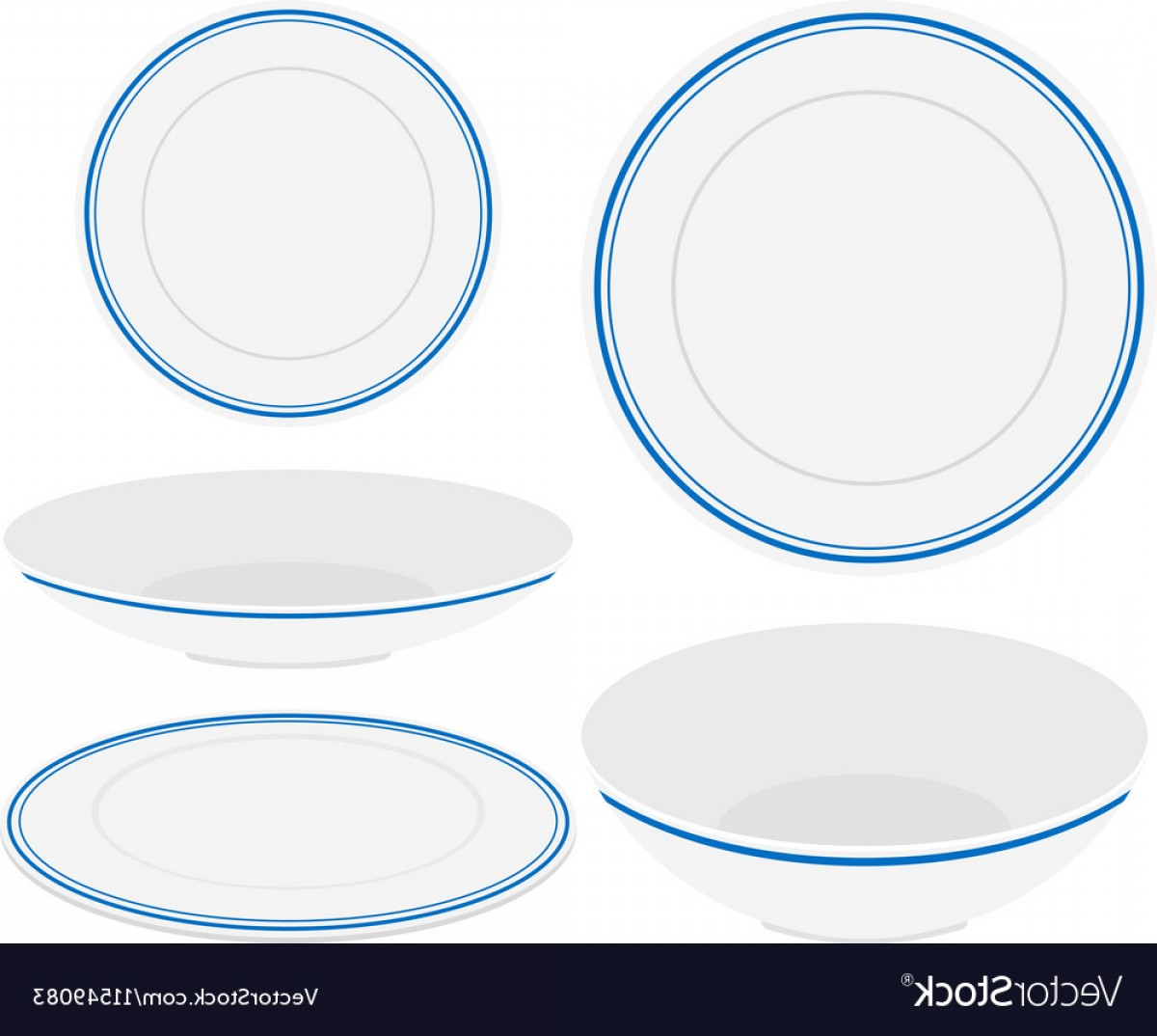 Vector Can Trim White: White Plates With Blue Trim Vector