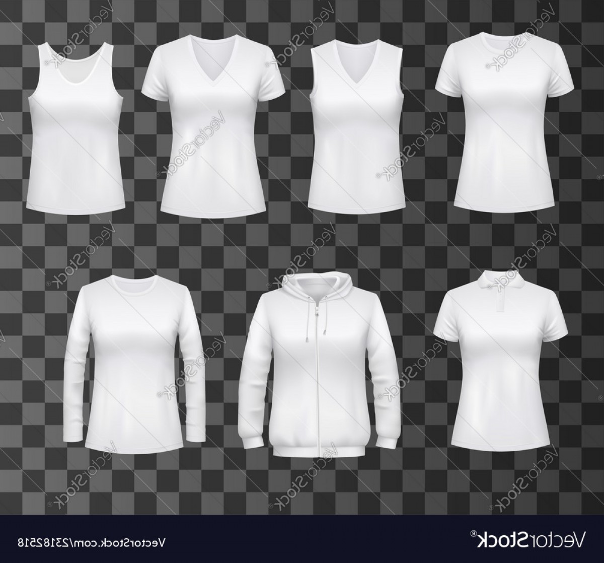 Best Tank Top Vector: White Polo Shirt Mockup Realistic Vectors