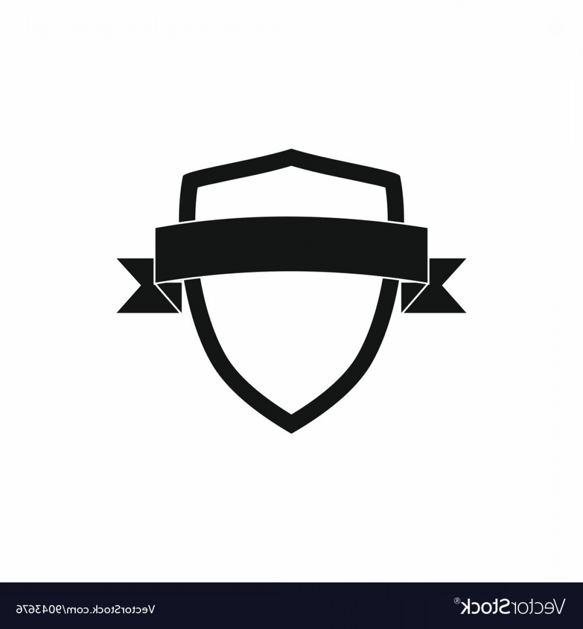 White Shield Vector: White Shield With Black Ribbon Icon Simple Style Vector