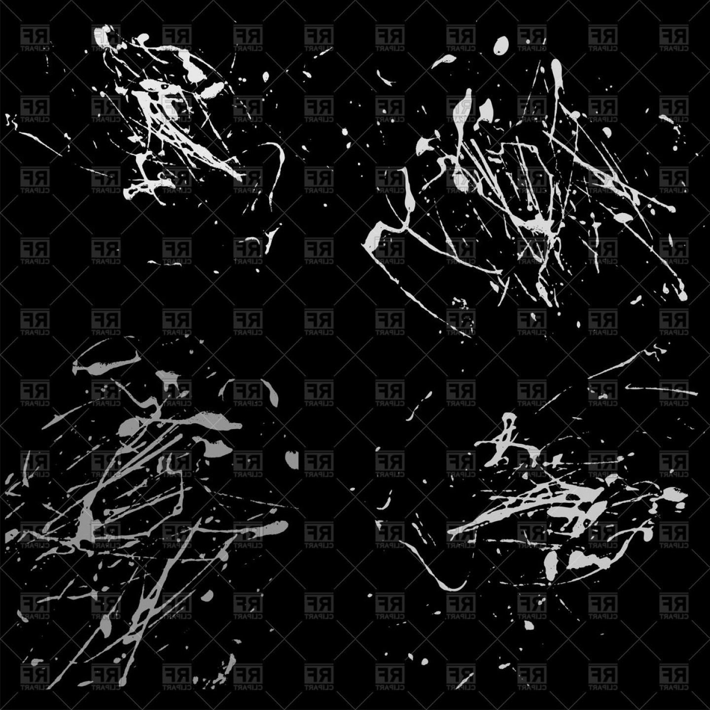 Vector Paint Splash Black White: White Splatter Paint On Black Background Vector Clipart