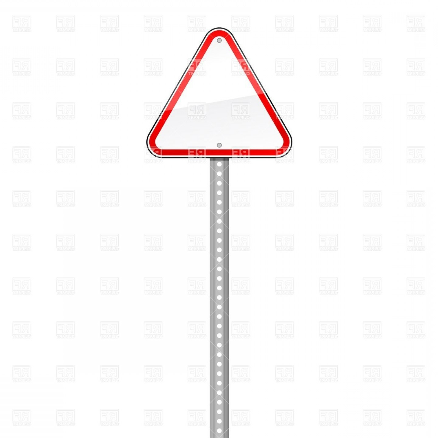 Vector Pole: White Three Cornered Traffic Sign With Red Border On Pole Vector Clipart