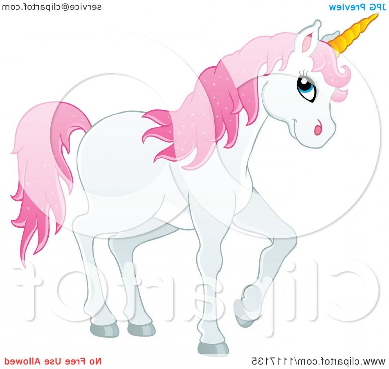 Vector Cartoon Free Clip Art: White Unicorn With Pink Hair
