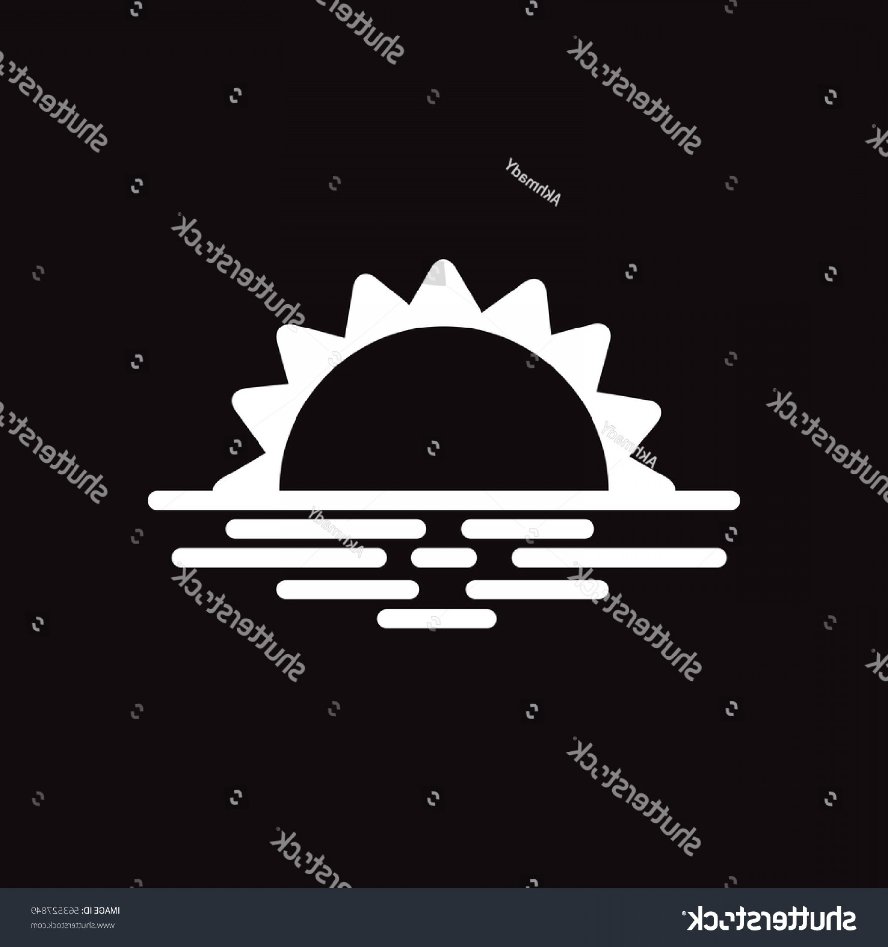 Sunset Black And White Backgrounds Vector: White Vector Icon On Black Background