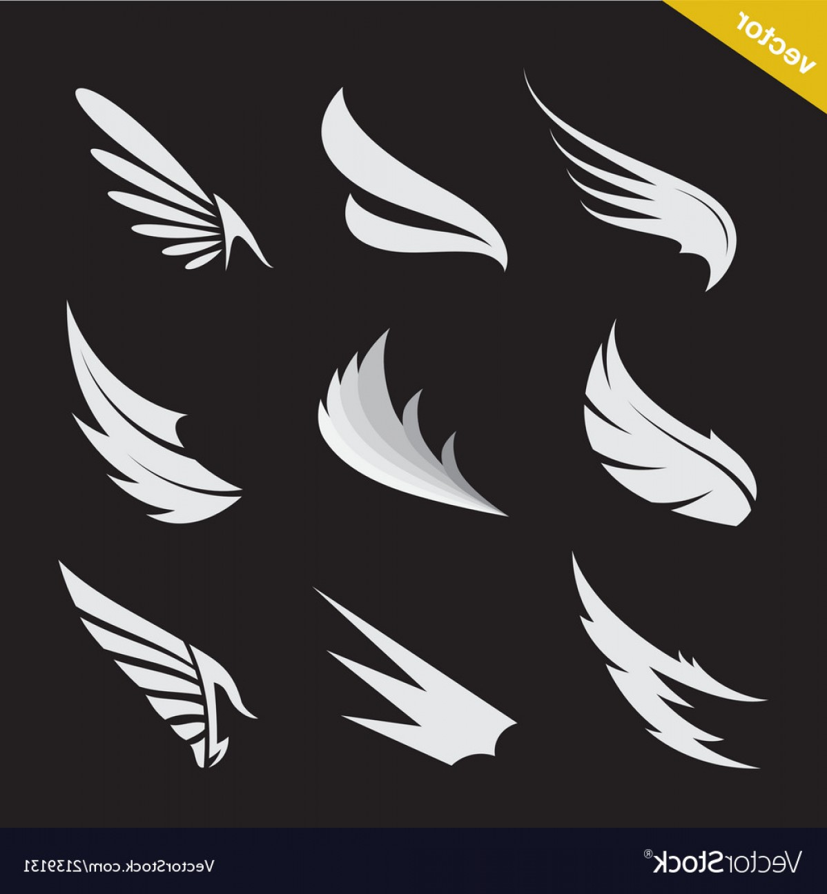 Vector Hi Res Black And White Wing: White Wing Icons Set Vector