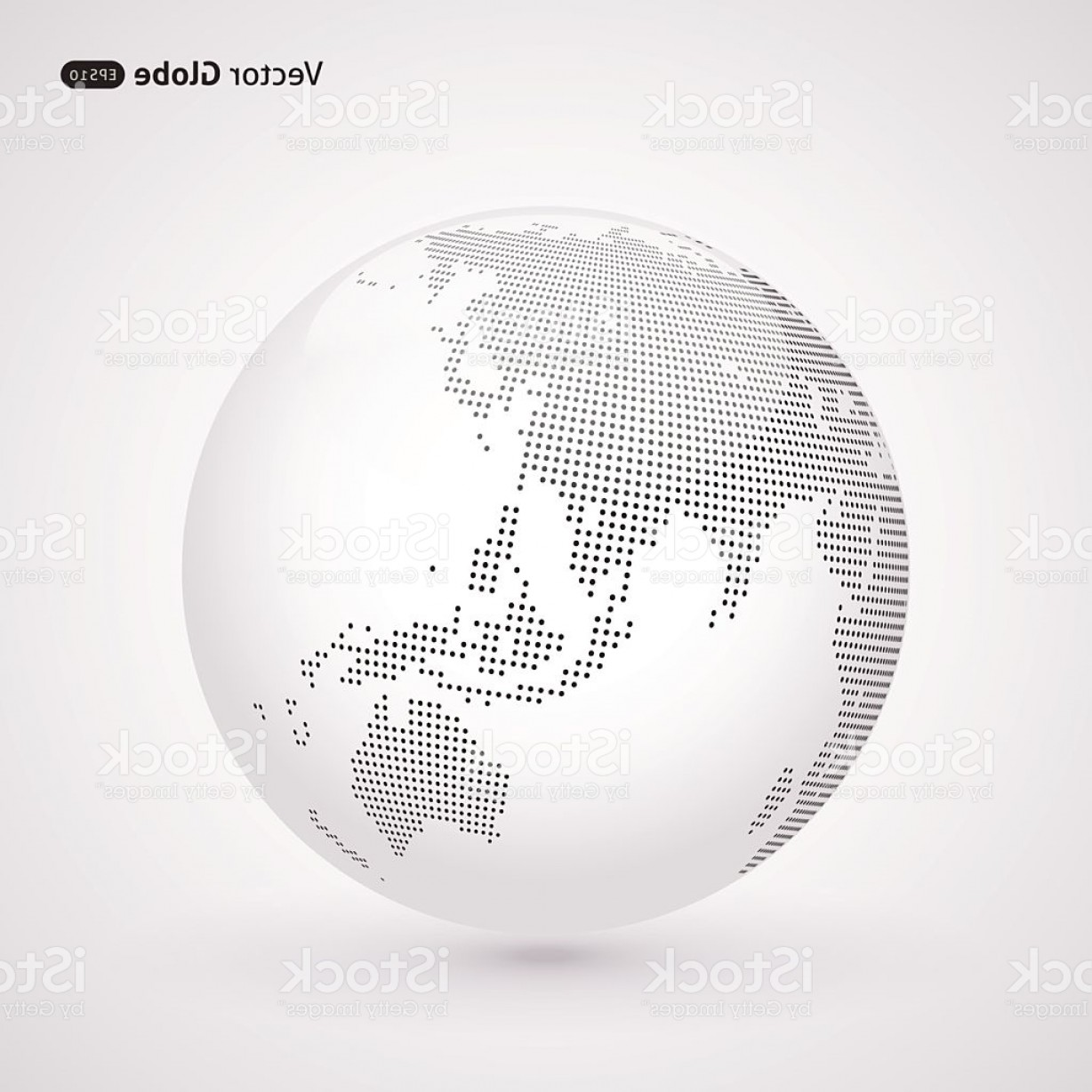 Vector Globe Countries: White World Globe With Dots Making Up The Countries Gm