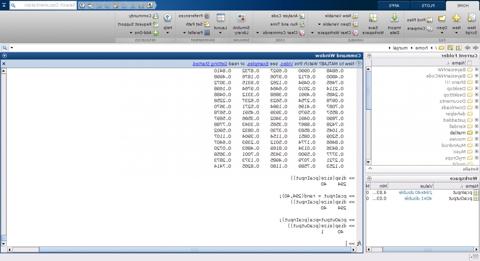 Combine Two Vectors MATLAB: Why Pca Gives Vector As Output For Matrix In Matlab
