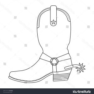 Cowboys Line Drawings Vector: Cowboy Boot Icon Outline Singe Western Icon From The Wild West Outline Gm