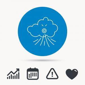 Real Wind And Cloud Vector: Wind Icon Cloud With Storm Sign Vector