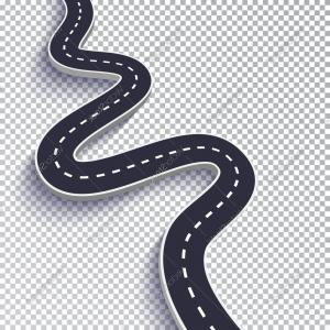 Transparent Curved Road Vector: Winding Road With Transparent Shadow Template Vector