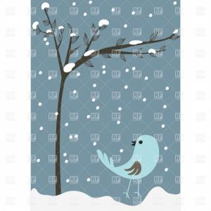 Leafless Tree Vector Background: Winter Leafless Tree And Bird Vector Clipart