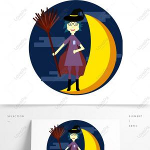Silhouette Vector Witches Broom: Witch Flying On Broom Silhouette
