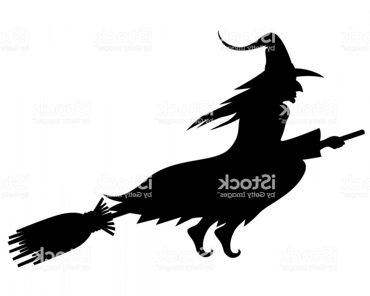 Witch Silhouette Vector: Wicked Halloween Witch Silhouette Gm