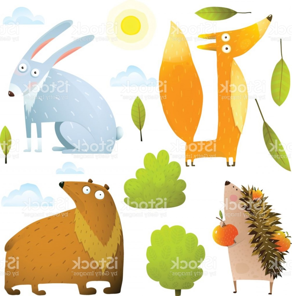 Vector Clip Art Collections: Wild Baby Animals Clip Art Collection Fox Rabbit Bear Hedgehog Gm