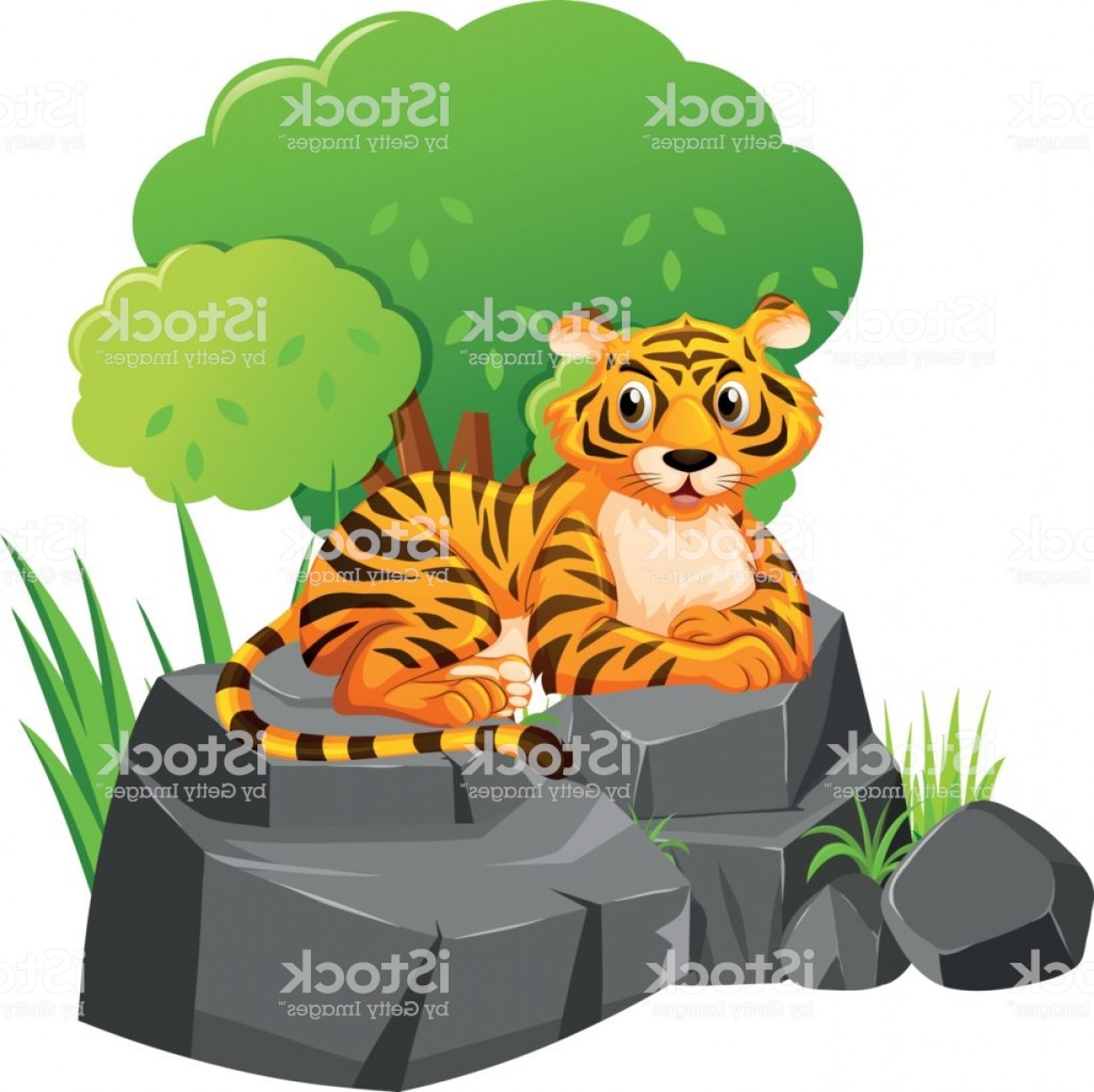Green Tiger Vector: Wild Tiger Sitting On Rock Gm