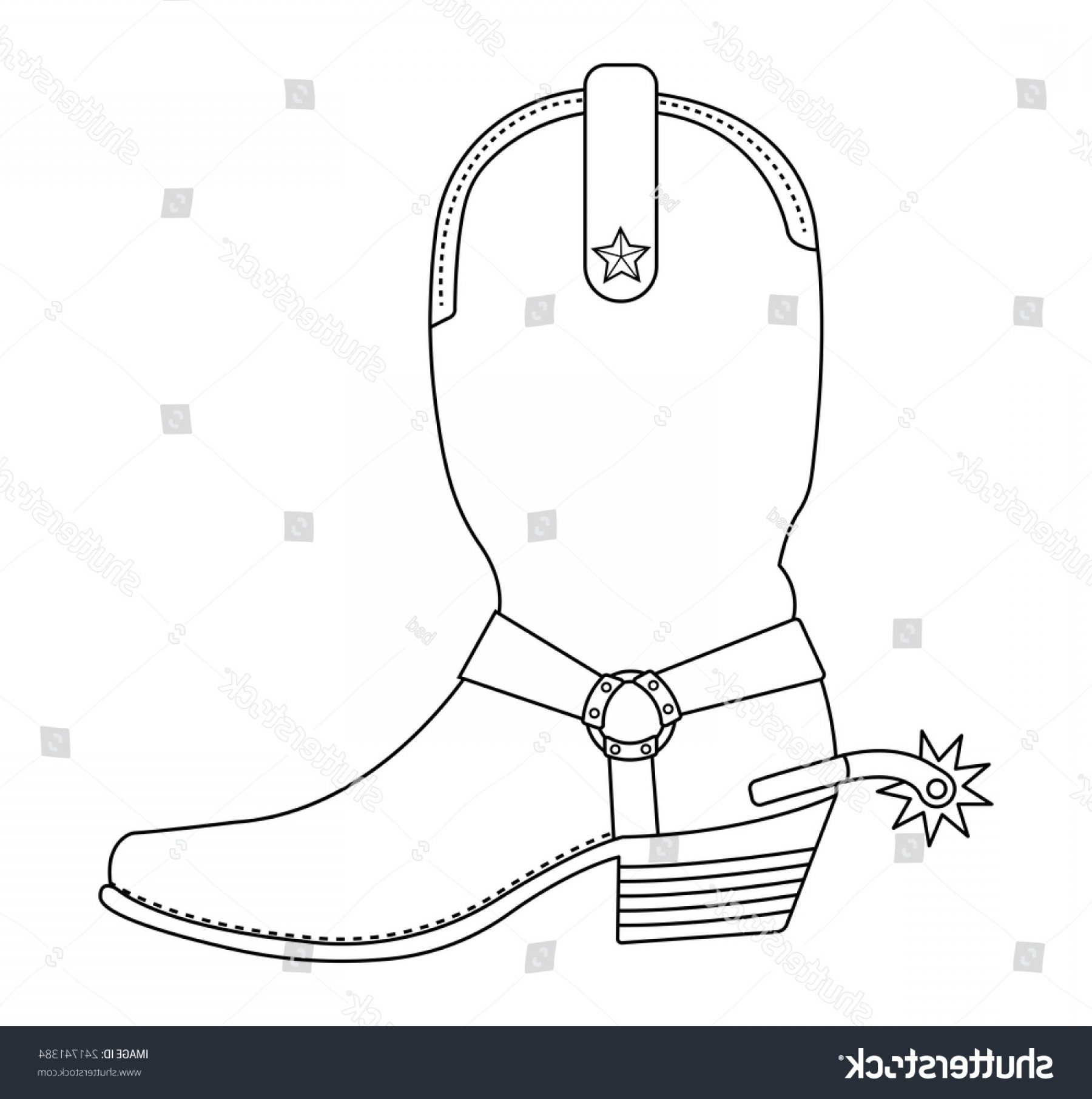 Cowboys Line Drawings Vector: Wild West Cowboy Boot Spur Star
