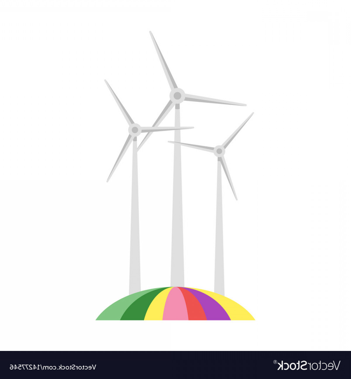 Wind Vector Field: Wind Mill On Colorful Field Vector