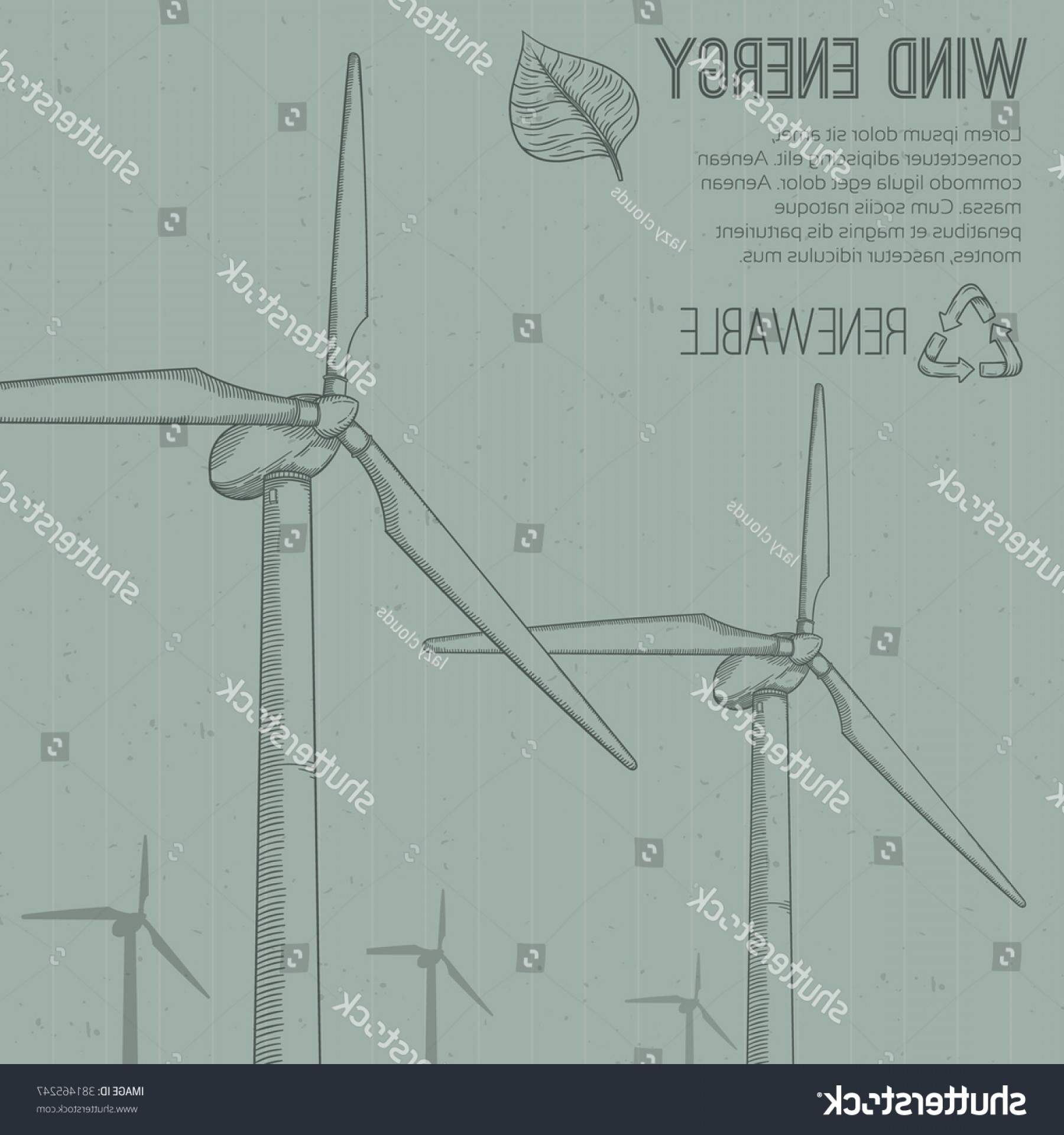 Vector Power Plant Utility: Wind Power Plant Hand Drawn Vector