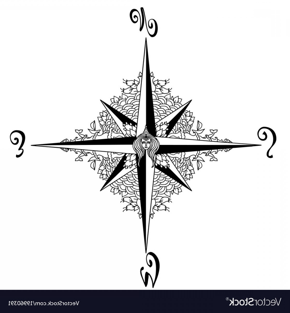 Mandala Vector Simple Compass: Wind Rose In Mandala Style Nautical Compass Icon Vector