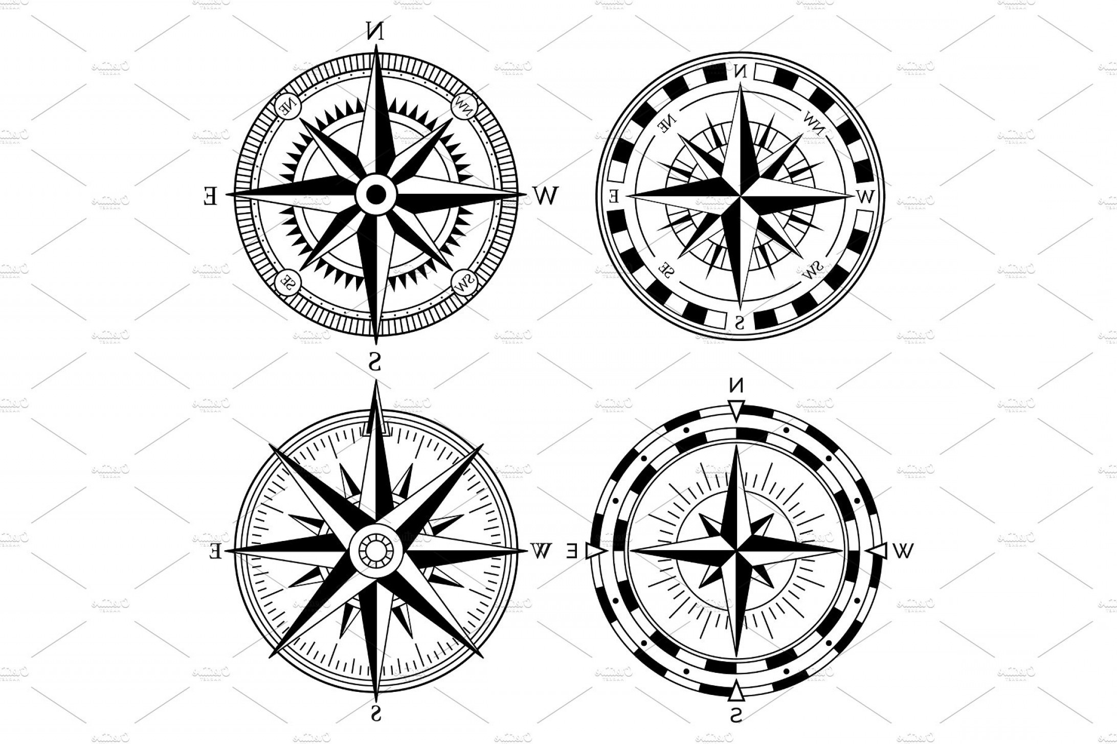 4 Point Nautical Star Vector: Wind Rose Retro Design Vector Collection