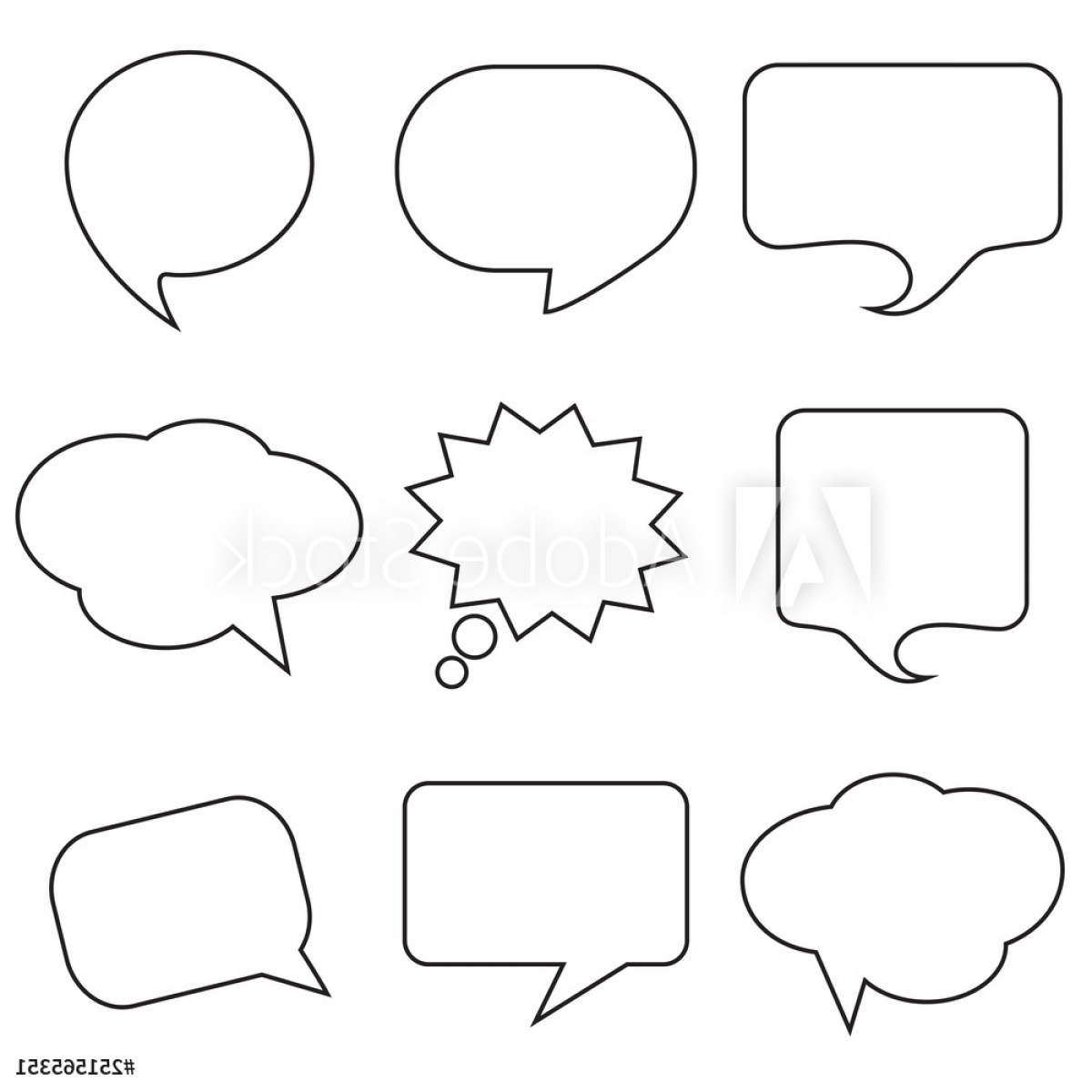 Amazing Window Vector: Window Stickers Graffiti Collage Black Speech Bubble Skech Set Isolated On White Background Vector Illustration
