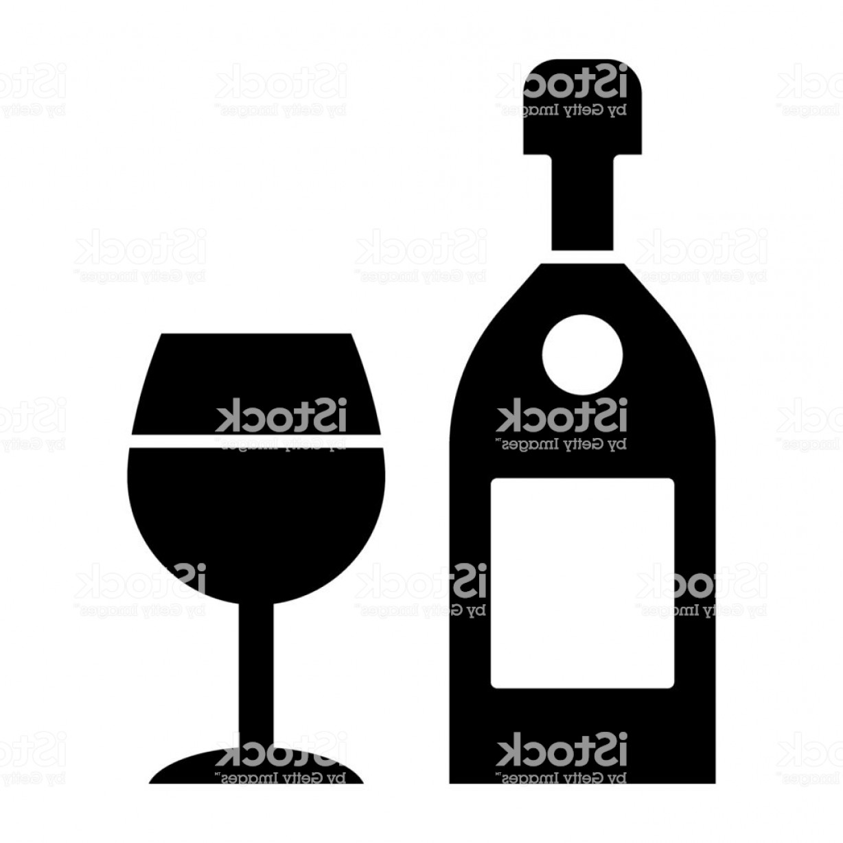 Alcohol Vector: Wine Bottle With Glass Solid Icon Alcohol Vector Illustration Isolated On White Gm
