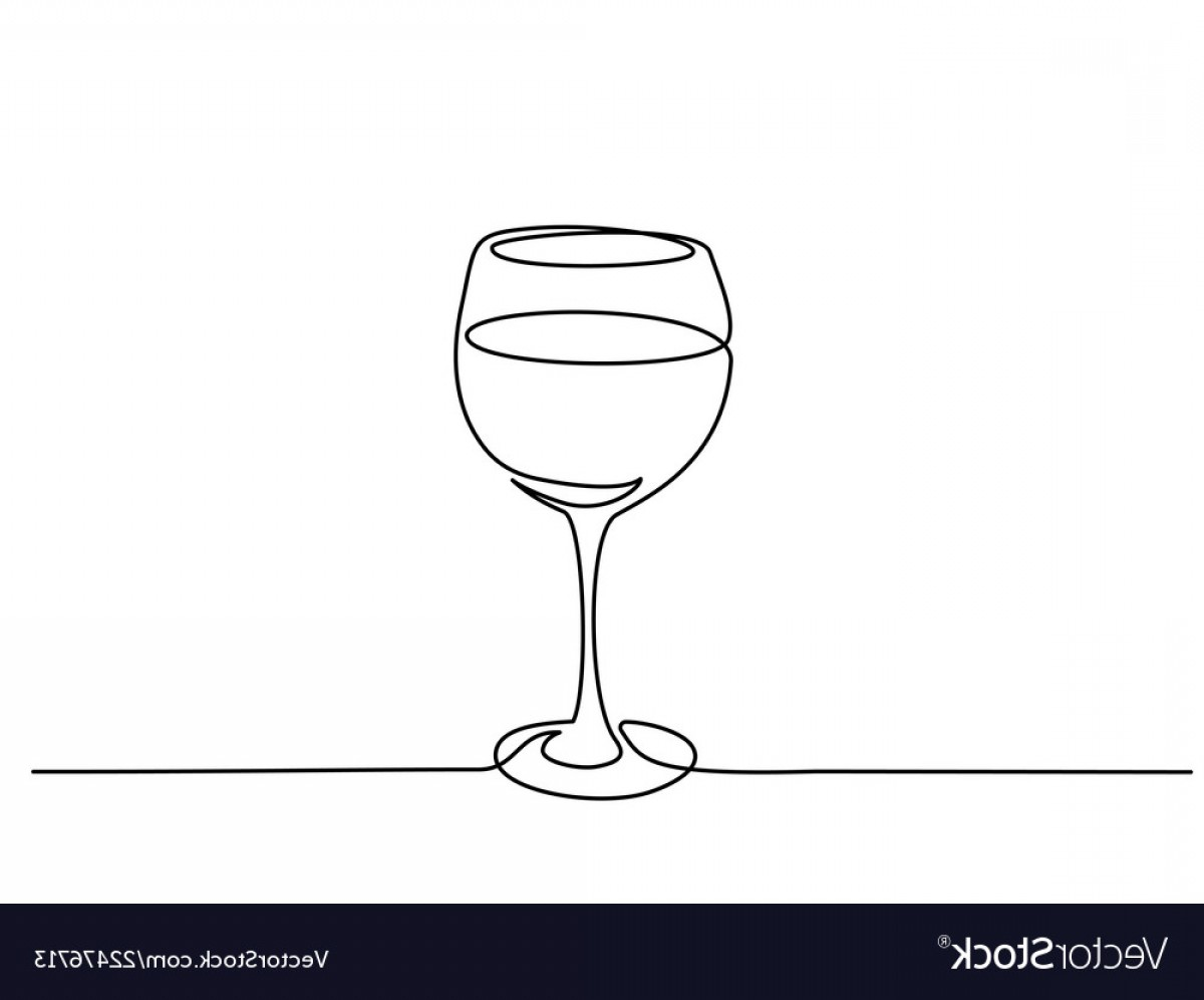 Single Wine Glass Silhouette Vector: Wine Glass Continuous One Line Drawing Vector
