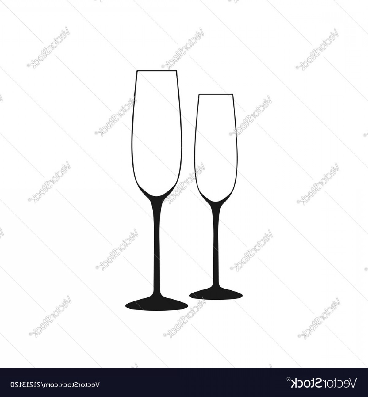 Single Wine Glass Silhouette Vector: Wine Glass Of Wine Glass A Long Empty Vector