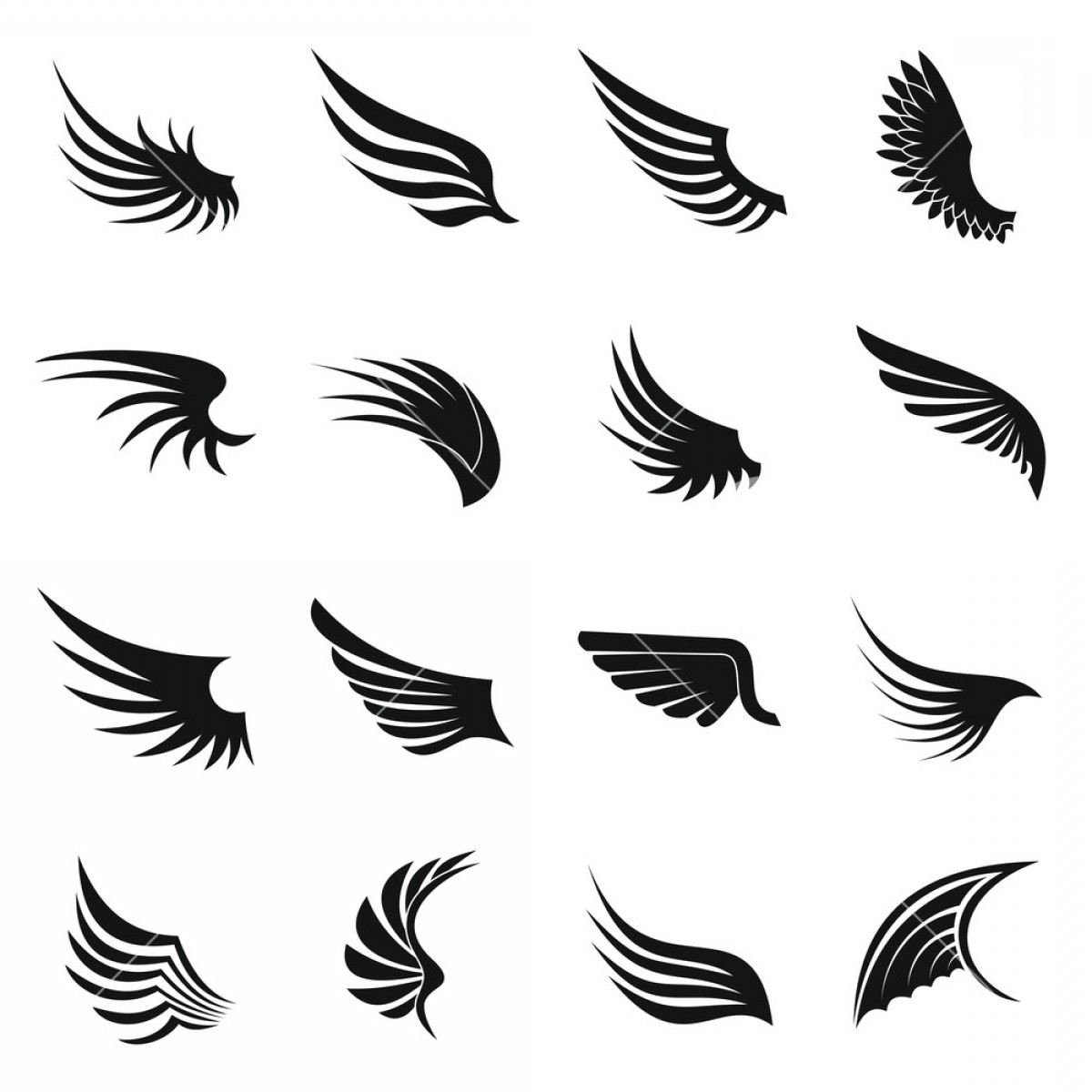 Angel Wings Tattoo Tribal Vector: Wing Icons Set In Simple Ctyle Birds And Angel Wings Set Collection Vector Illustration B Xeadlzjzjfkqrwm