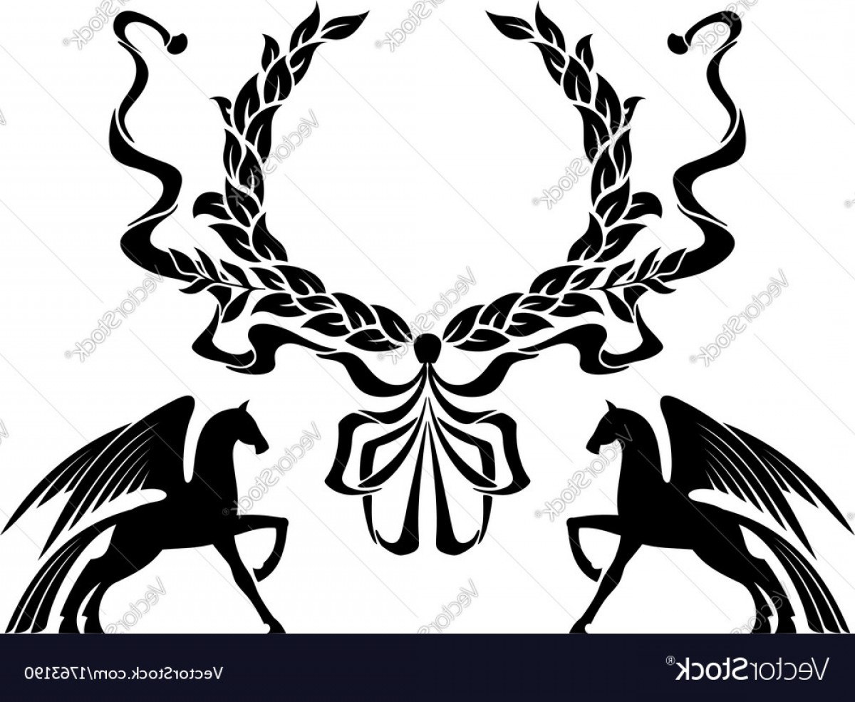 Tribal Vector Horseshoe Image: Winged Horses With Laurel Wreath Vector