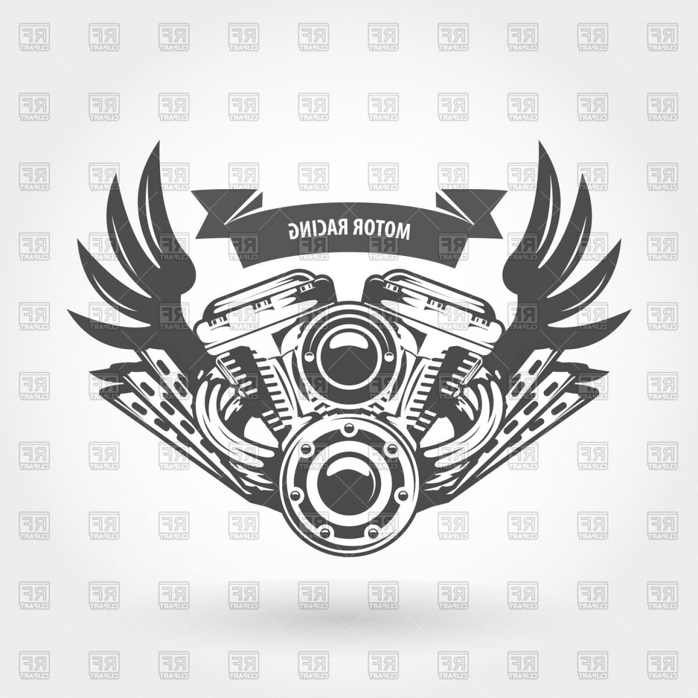 Motor Vector Graphics: Winged Motorcycle Engine Emblem Chopper Bike Motor Vector Clipart