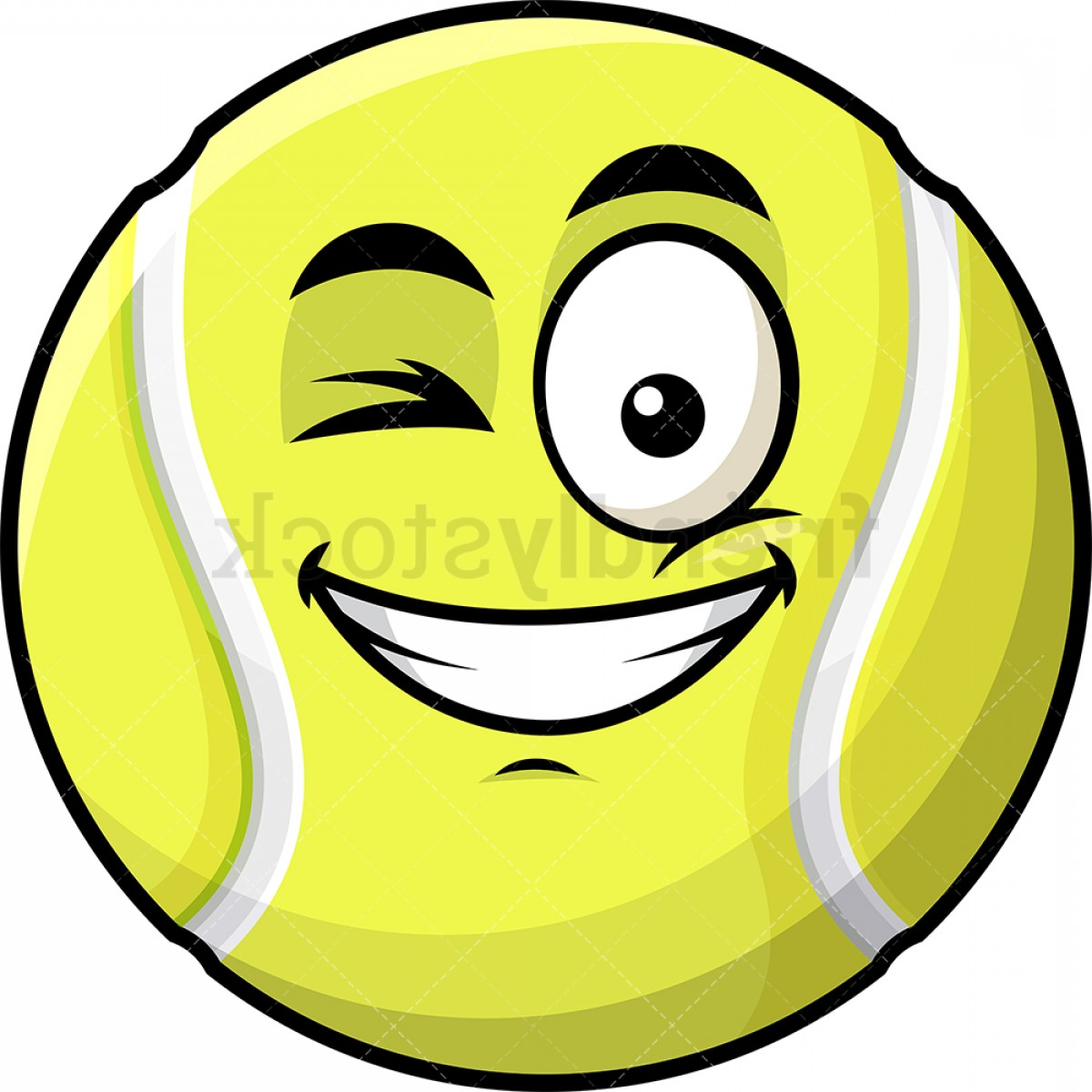 Smiley-Face Winking Vector: Winking And Smiling Tennis Ball Emoji