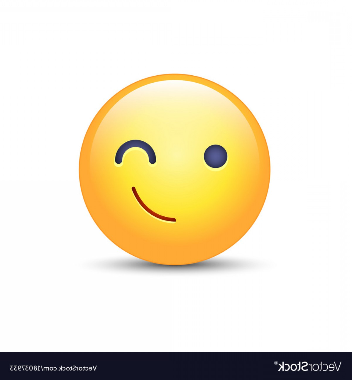 Smiley-Face Winking Vector: Winking Fun Cartoon Emoji Face Wink And Smile Vector