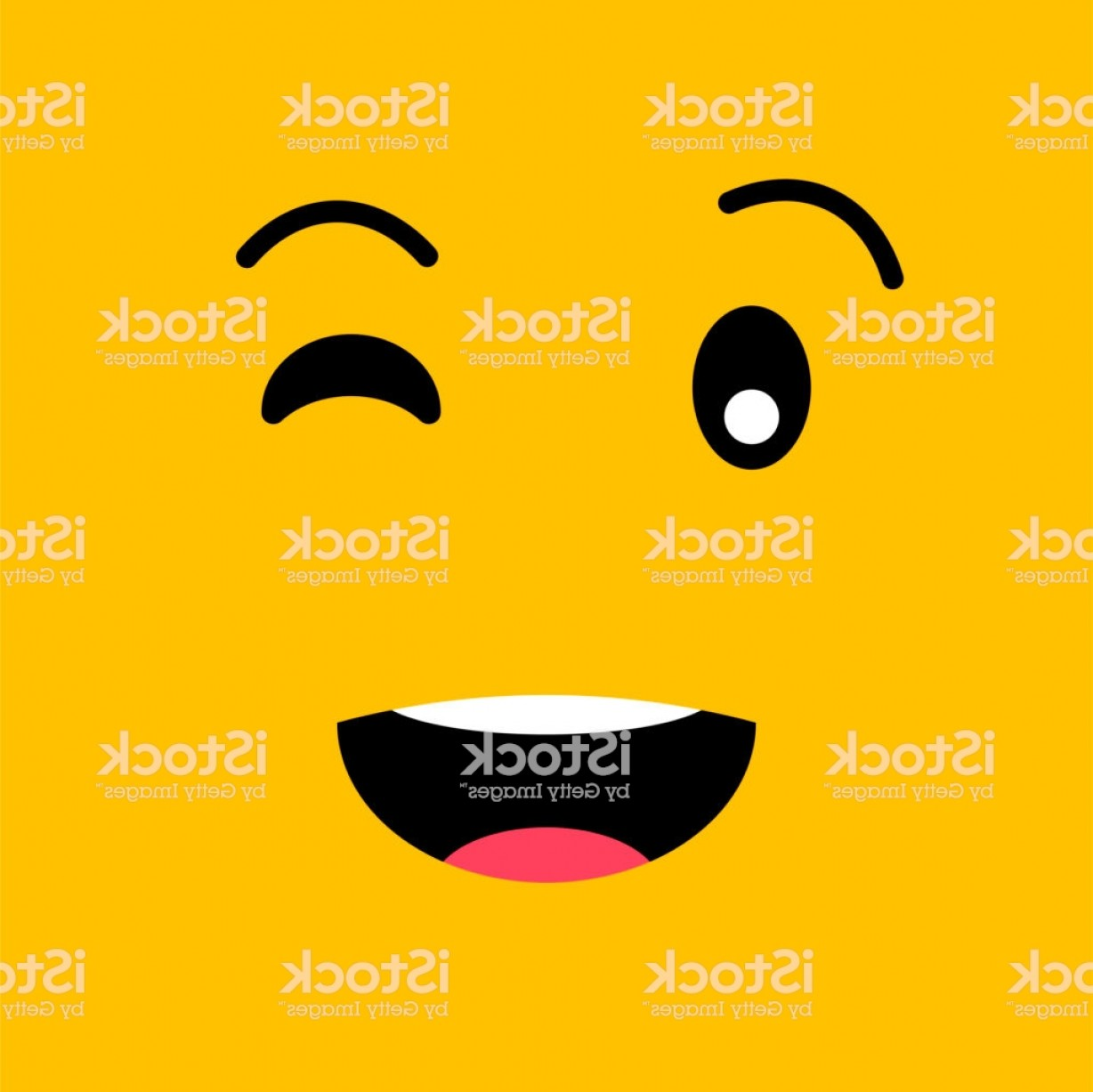 Smiley-Face Winking Vector: Winking Funny Emotion Emoji Face Smiley Face On Yellow Background Simple Emoticons Gm
