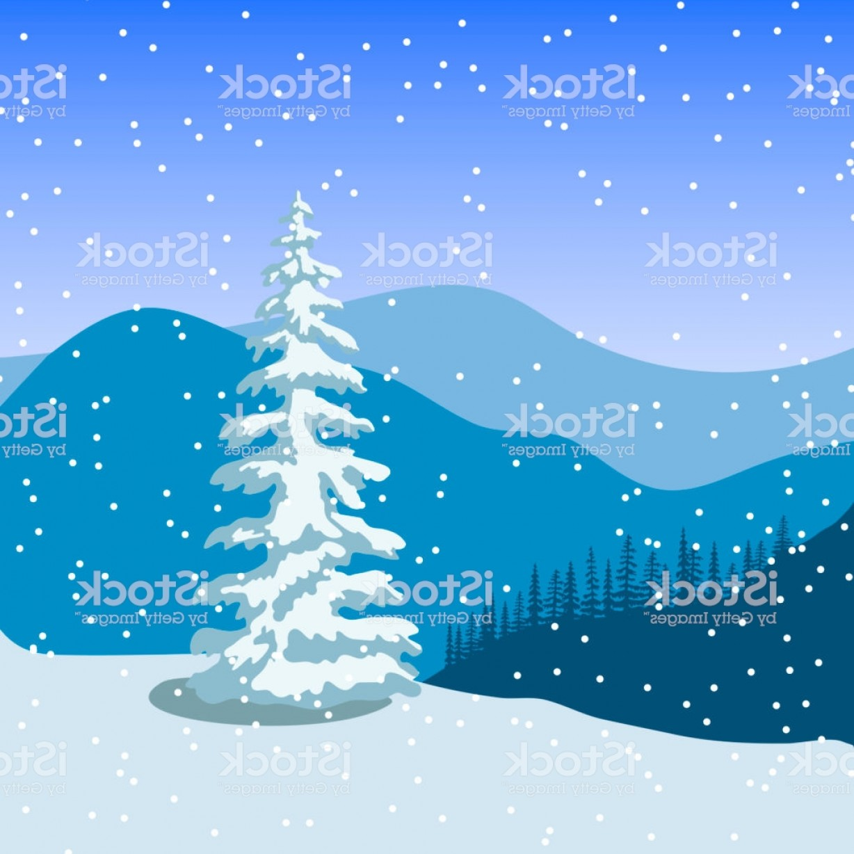 Vector Art Mountains Trees Colorado: Winter Christmas Landscape With Silhouettes Of Mountains Snowfall And Forest At Gm