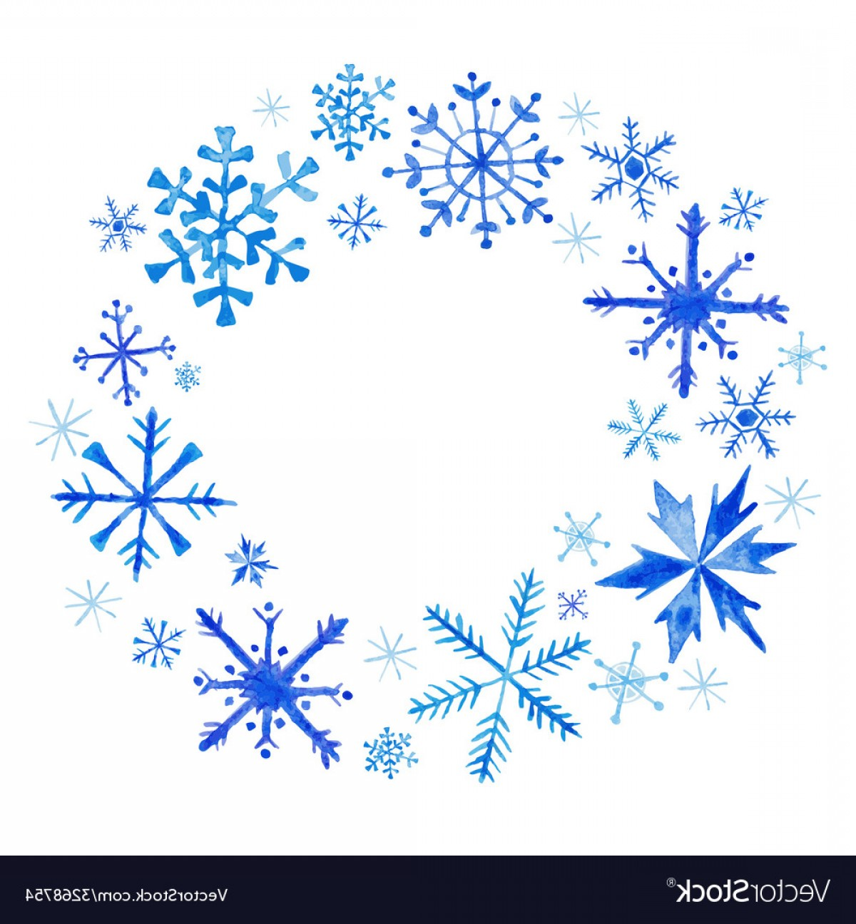 Vector Snowflake Wreath: Winter Christmas Wreath Snowflakes In Watercolor Vector