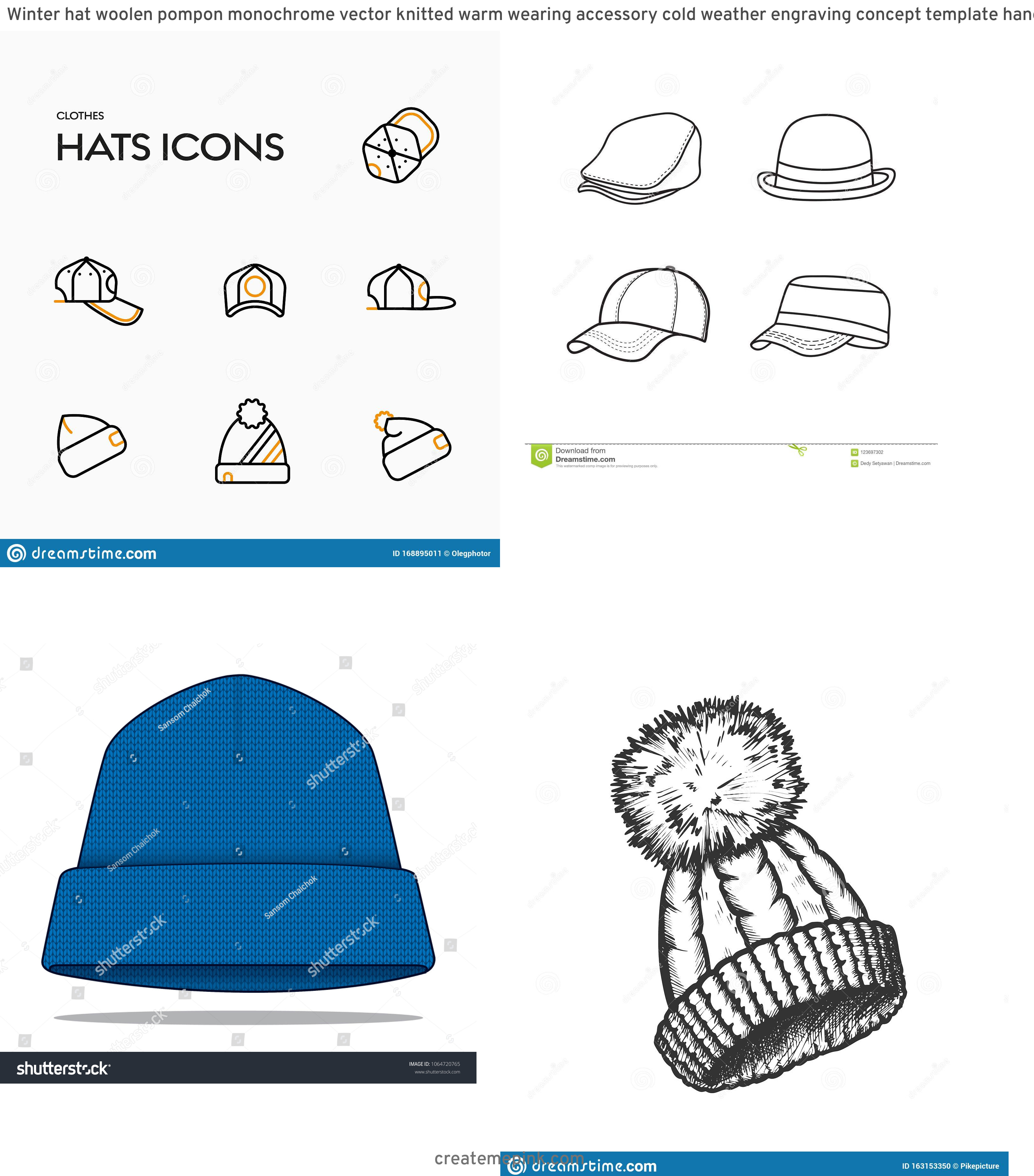 Winter Hat Vectors Templates: Winter Hat Woolen Pompon Monochrome Vector Knitted Warm Wearing Accessory Cold Weather Engraving Concept Template Hand Image