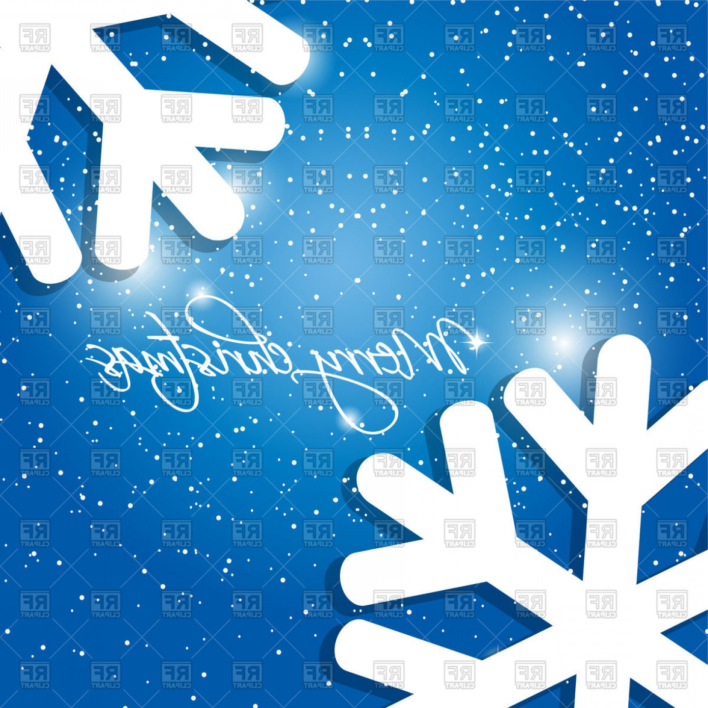 Free Winter Vector: Winter Holiday Card With Christmas Snowflakes Vector Clipart