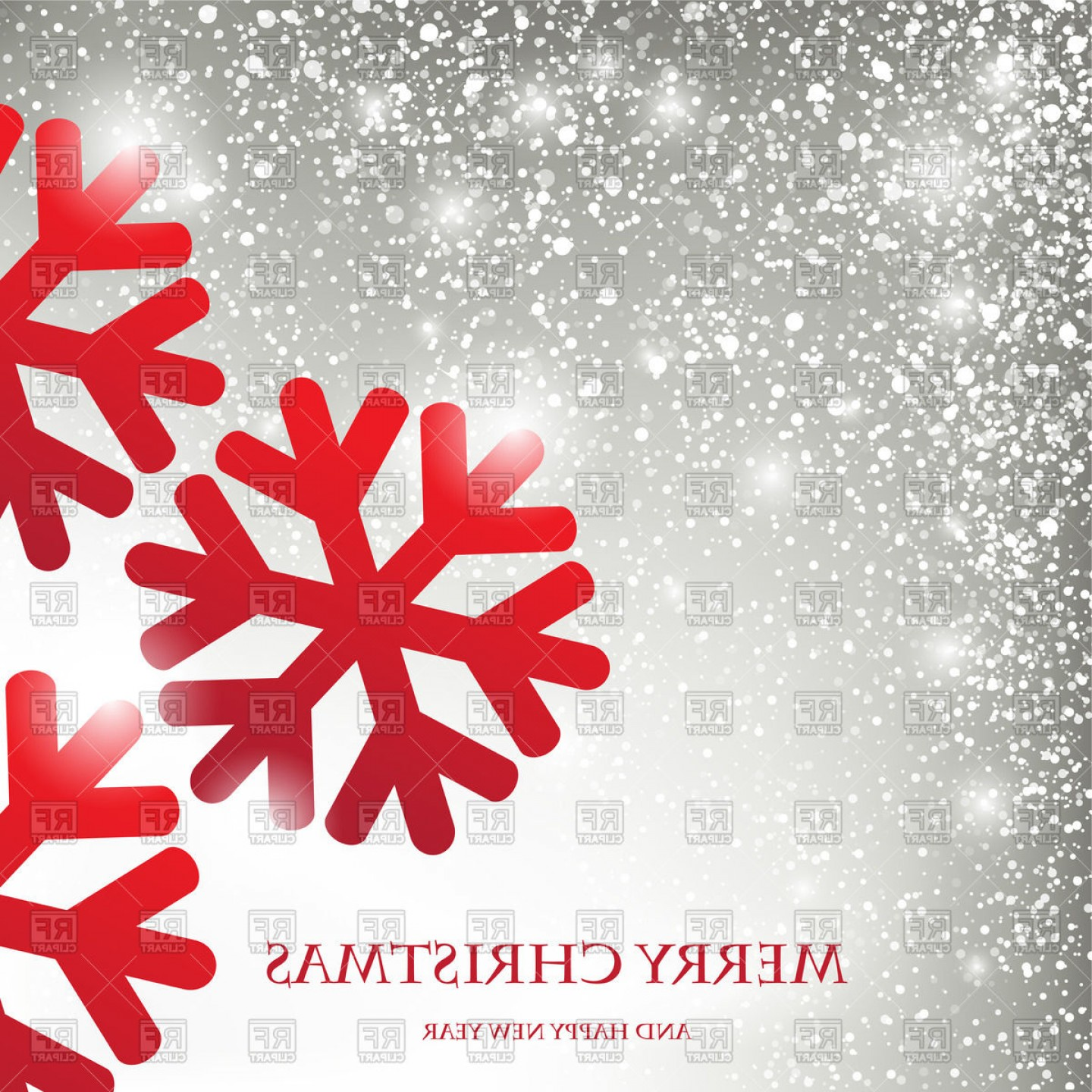 Snowflake Border Vector Art: Winter Holiday Greeting Card With Snowflakes And Snowfall Vector Clipart