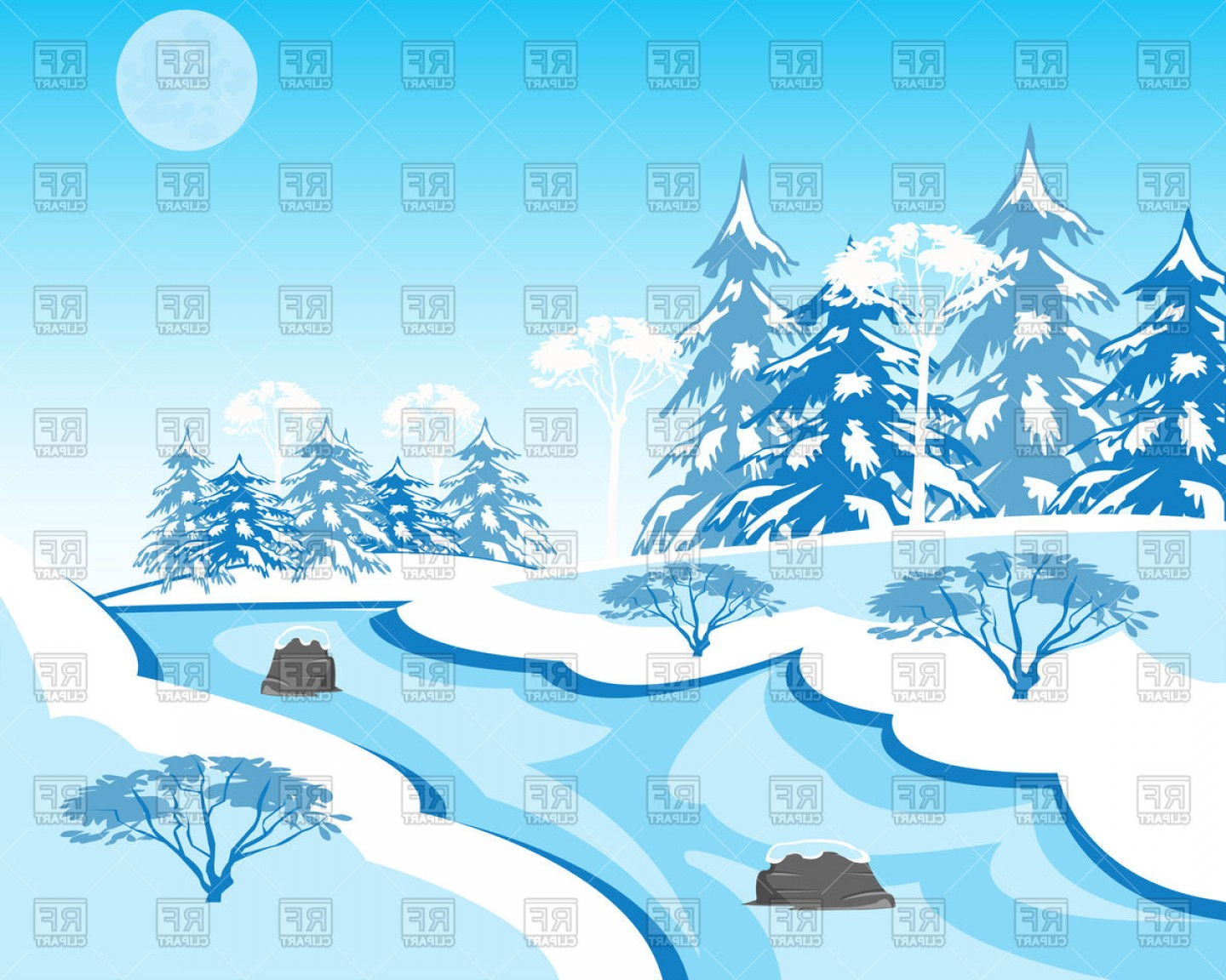 River Vector Art: Winter Landscape With River Vector Clipart