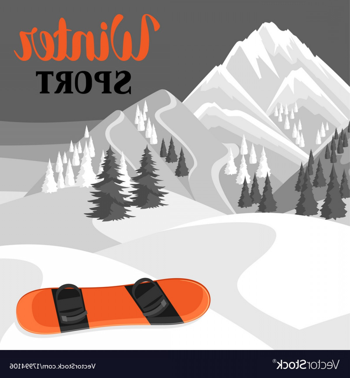 Snowy Mountain Vector Graphics: Winter Landscape With Snowboard Snowy Mountains Vector