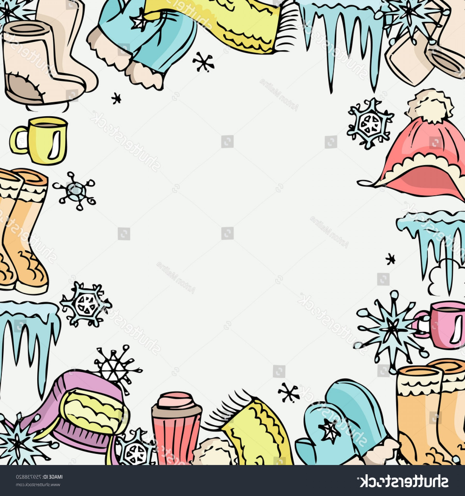Active Border Vector: Winter Mood Background Vector Clothes Hot