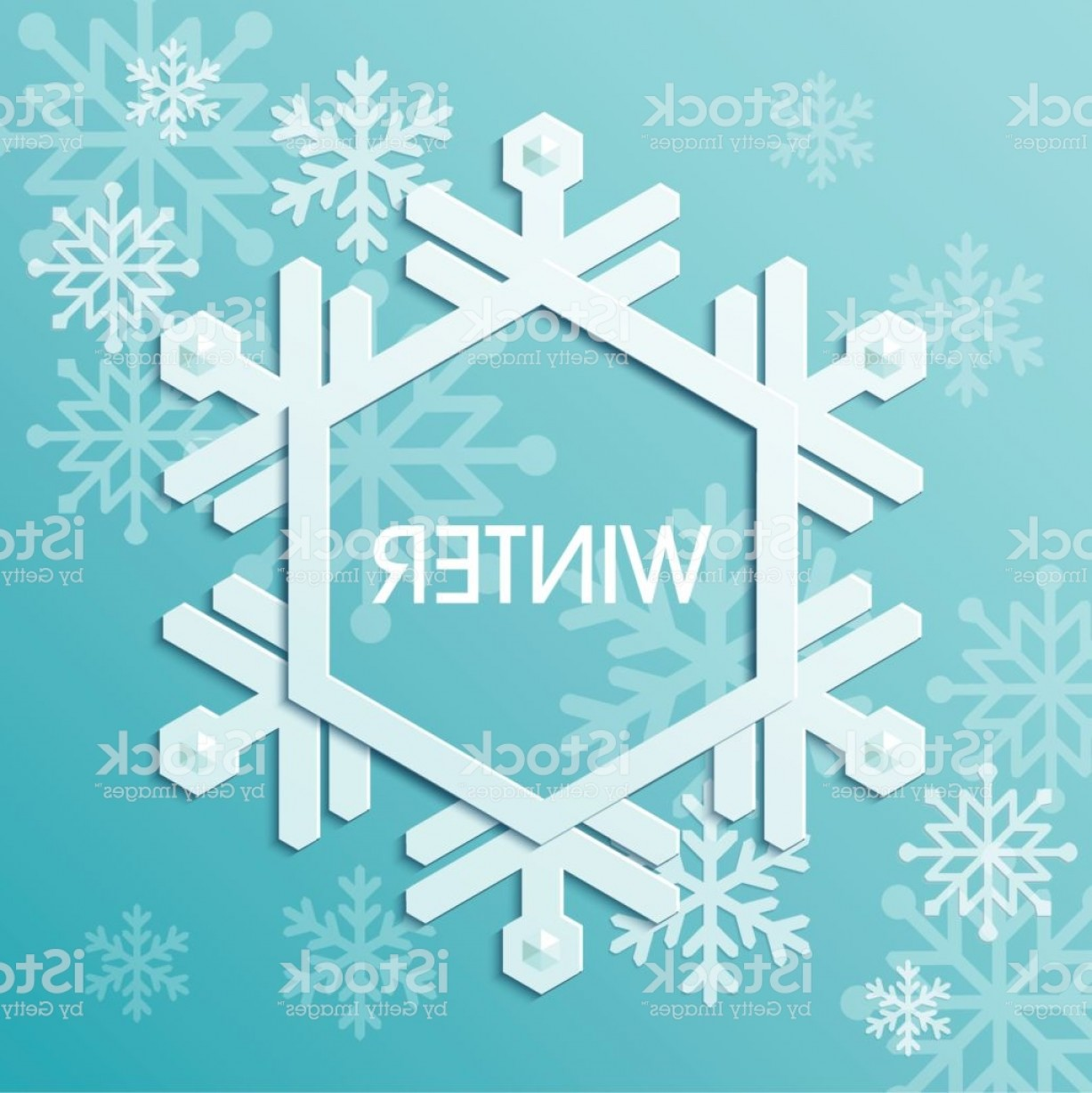 Snowflake Border Vector Art: Winter Snowflake Border Design Gm