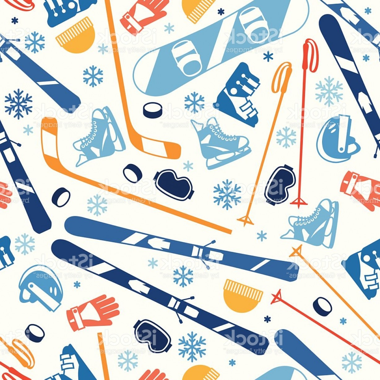 Hockey Vector Patterns: Winter Sports Seamless Pattern With Equipment Flat Icons Gm