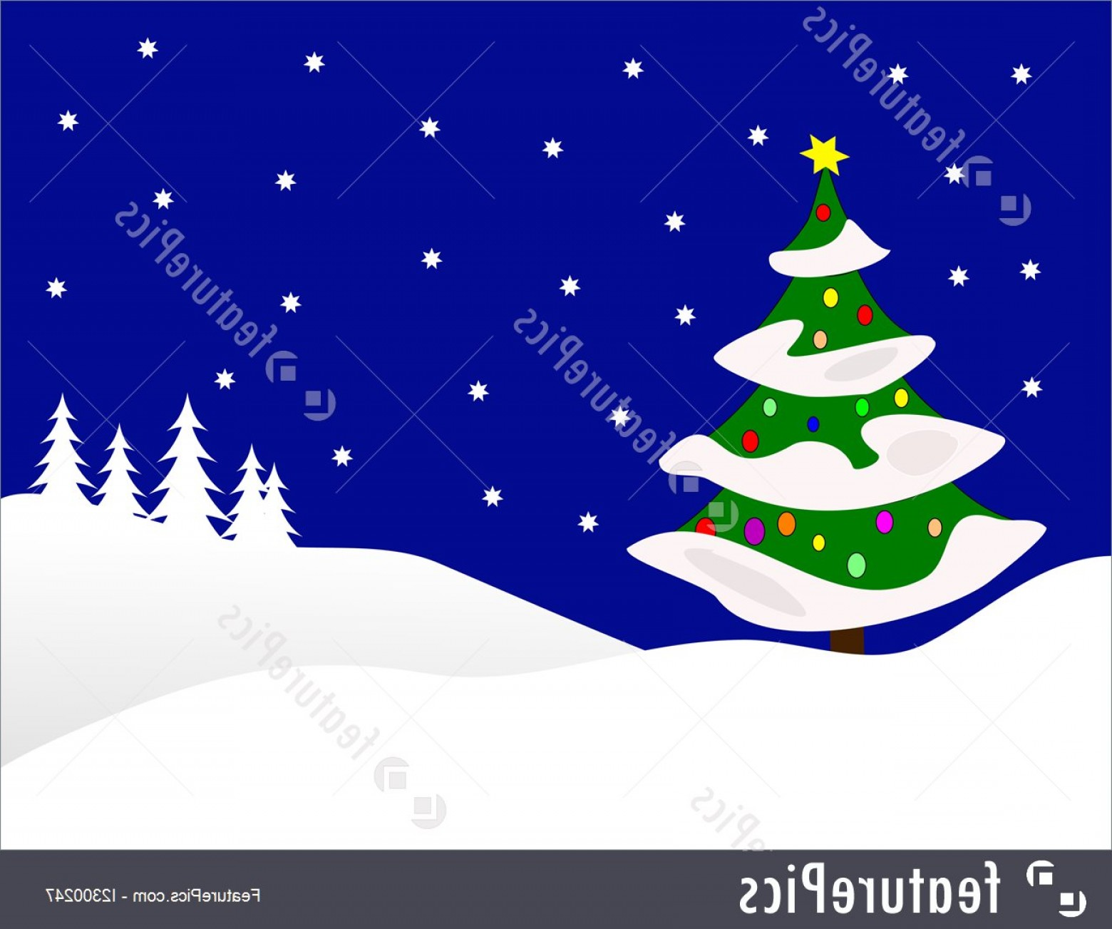 Free Winter Vector: Winter Vector Background Illustration Large Snow Covered