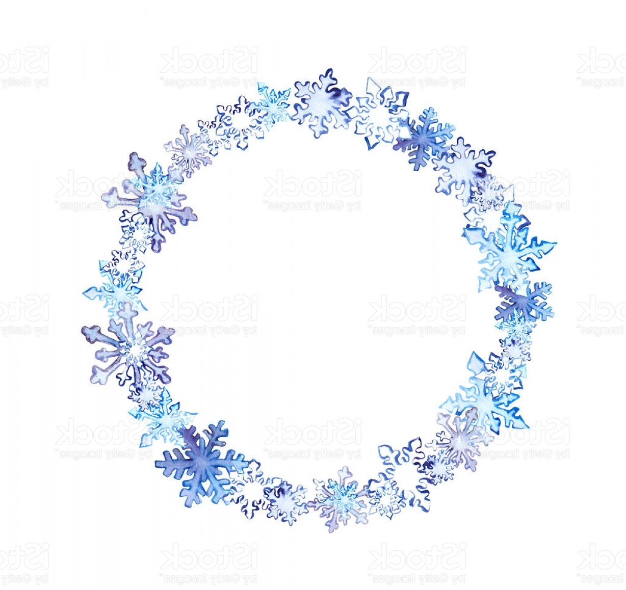 Vector Snowflake Wreath: Winter Wreath With Snowflakes Watercolor Round Frame Gm