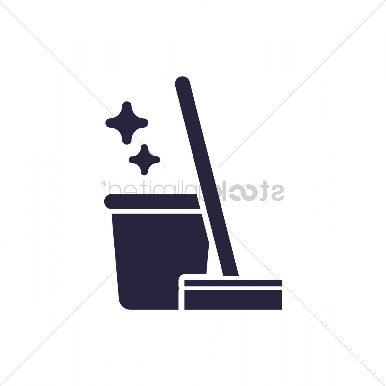 Mop And Bucket Clip Art Vector: Wiper Mop And A Bucket Of Water